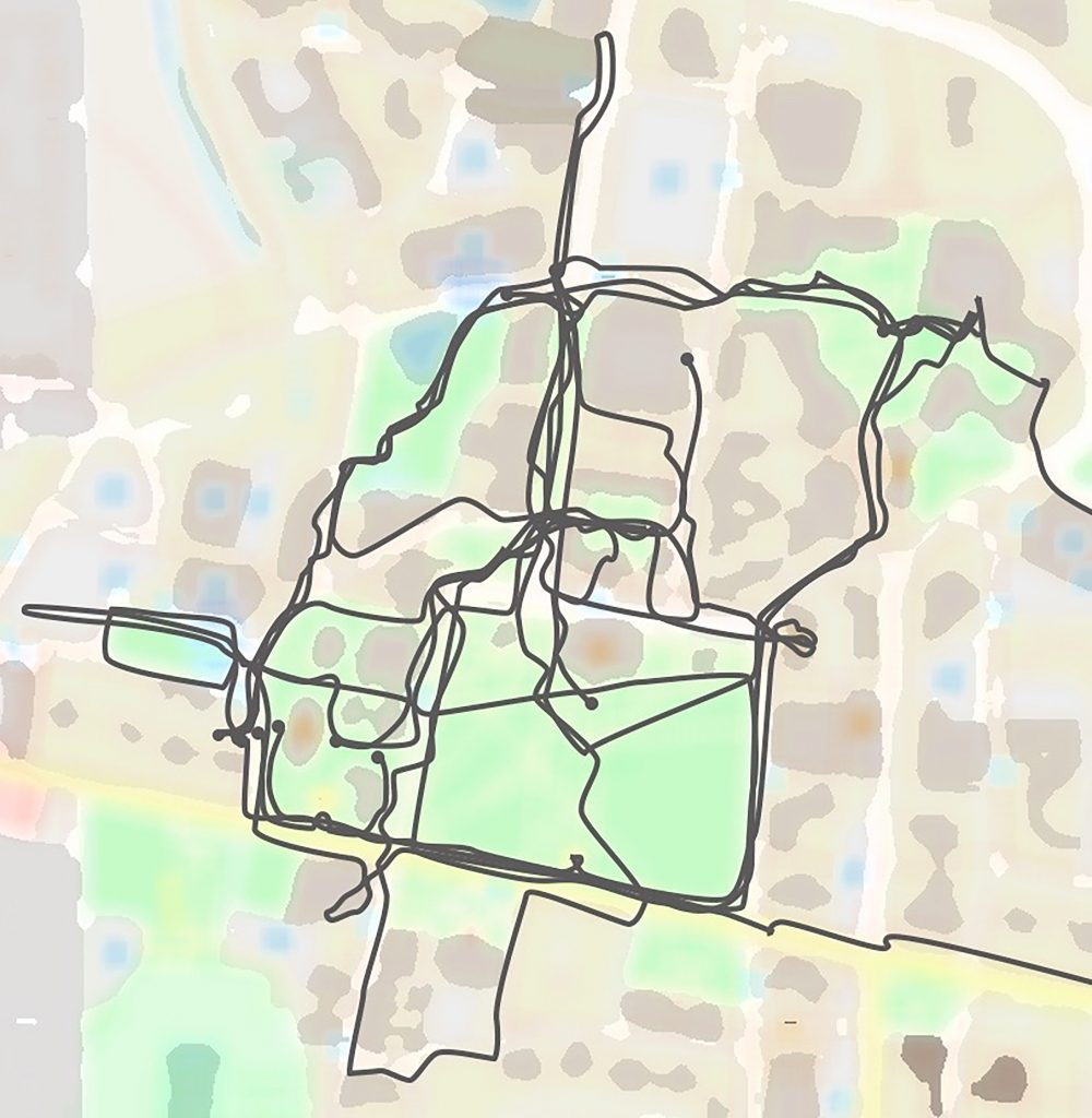 Map of campus with paths drawn on it
