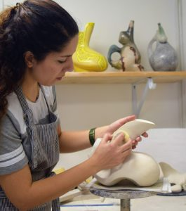 artist Nasrin Iravani at work
