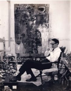 Al Sella in his studio, probably taken in 1965, Courtesy of the Sella Estate.
